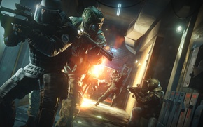 Картинка explosion, fire, flame, game, soldier, weapon, Rainbow Six, man, shotgun, shot, Tom Clancy's, helmet, spark, …