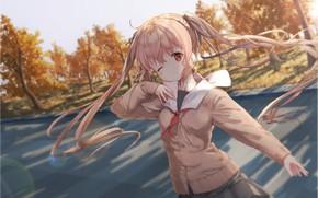Картинка осень, арт, девочка, kantai collection, murasame