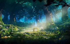 Картинка лес, деревья, цветы, глаз, грибы, луч, меч, постамент, The Legendary Sword