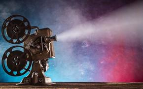 Обои projector, ретро, hi-tech, movie, катушки, кинопленка, боке, wallpaper., размытость, кинопроектор, technology, cyberspace, свет лучи, показ ...