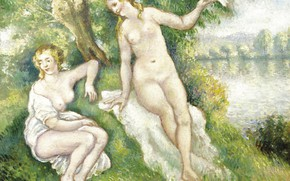 Картинка эротика, картина, Купальщицы, Georges Henri Manzana Pissarro, Жорж-Анри Манзана-Писсарро