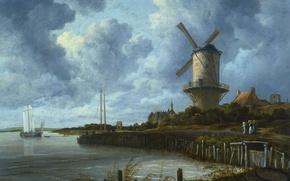 Картинка пейзаж, масло, картина, холст, Якоб ван Рёйсдал, Мельница в Вейк-Бей-Дюрстеде