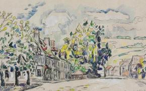 Картинка город, улица, рисунок, дома, акварель, Поль Синьяк, Малый Лез-Андели