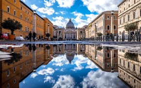 Картинка отражение, Рим, Ватикан, Собор Святого Петра, Basilica di San Pietro, Базилика Святого Петра, карликовое государство-анклав