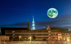 Картинка небо, ночь, огни, луна, дома, Германия, фонари, Zwickau