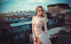 Картинка девушка, город, бисер, боке, водолазка, Kaan Altindal