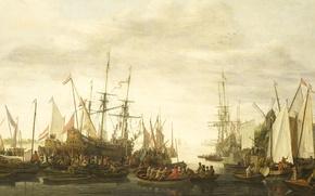 Картинка лодка, корабль, картина, парус, Ливе Питерсзон Версхюр, Протаскивание под Килем Корабельного Хирурга