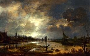 Обои пейзаж, парус, Река возле Города в Лунном Свете, ночь, Aert van der Neer, Арт Ван ...