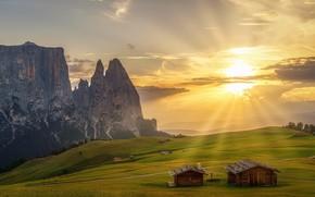 Обои луга, Альпы, поля, горы, зелень, солнце, скалы, South Tyrol, облака, домики, лучи, Италия, деревья, возвышенность, ...