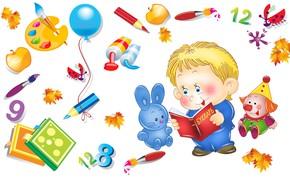 Картинка осень, настроение, игрушка, вектор, арт, кисточка, карандаш, школа, 1 сентября, детская, ученик, перемена, день знаний, …