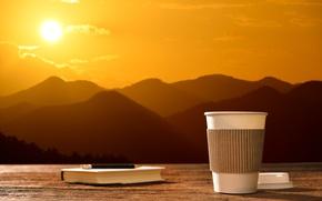Картинка солнце, рассвет, кофе, утро, чашка, hot, coffee cup, good morning