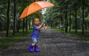 Картинка дождь, зонт, мальчик