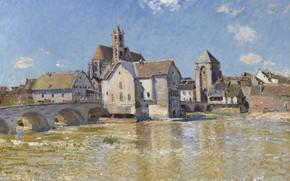Картинка город, река, дома, картина, Alfred Sisley, Альфред Сислей, Мост в Морэ-сюр-Луэне. Апрельское Утро