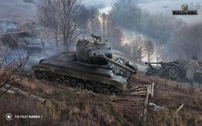 Обои пейзаж, осень, река, грязь, танки, дым, World of Tanks, T25 Pilot Number 1, деревья, дорога, ...