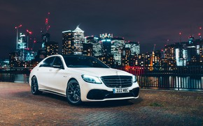 Обои город, Mercedes-Benz, AMG, S 63, 4MATIC, 2017