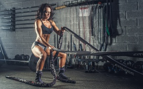Картинка female, workout, fitness, rope