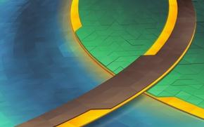Картинка Желтый, Синий, Зеленый, Линии, Абстракция, KDE, Треугольники, Plasma 5, KDE Neon