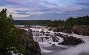 Картинка небо, вода, деревья, пейзаж, природа, река, камни, поток