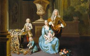 Картинка масло, портрет, картина, холст, Барон Дидерик с Женой и Тремя Сыновьями, Виллем ван Мирис