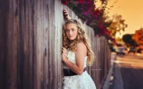 Картинка улица, забор, девочка