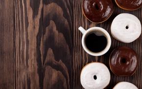 Картинка пончики, wood, coffee, donuts, chocalate