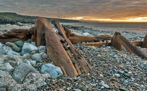 Картинка море, обломки, берег, Англия, Камбрия