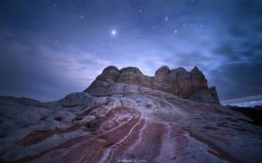 Обои природа, звезды, ночь, скалы, небо