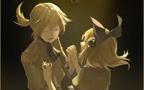 Картинка девушка, свет, ночь, парень, двое, бант, Vocaloid, Вокалоид, Кагомине Лен, Кагомине Рин