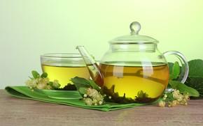 Картинка цветы, ветки, чай, напиток, заварка