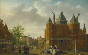 Картинка масло, картина, холст, городской пейзаж, Isaac Ouwater, Sint Antoniuswaag в Амстердаме