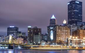 Картинка ночь, город, огни, США, Питтсбург