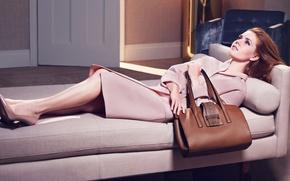 Картинка девушка, сумка, пальто, фотосессия, Amy Adams