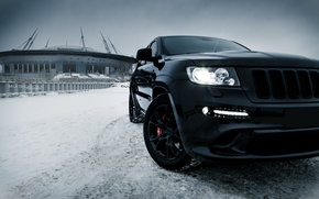 Картинка car, машина, авто, city, тачка, автомобиль, srt, auto, bridge, winter, jeep, grand cherokee, jeep grand ...