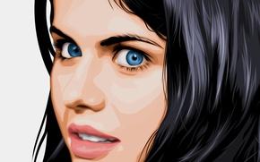 Картинка лицо, рендеринг, модель, актриса, Александра Даддарио, Alexandra Daddario