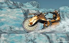 Картинка горы, транспорт, робот, MonsterBike