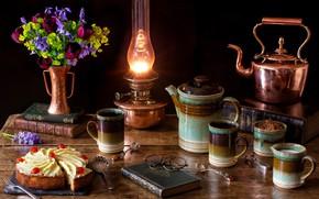 Обои очки, натюрморт, тюльпаны, книга, лампа, кофе, букет, чайник, торт, цветы