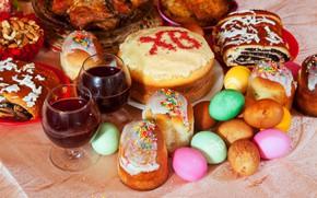 Картинка Пасха, Яйца, Праздник, Кулич