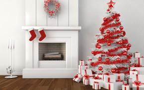 Картинка звезды, украшения, ленты, елки, Рождество, носки, камин, венки, подарочные коробки, маленькие подарки, цветные шары, элементы …