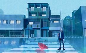 Картинка дорога, девушка, дождь, зонт, светофор, Hatsune Miku, Vocaloid
