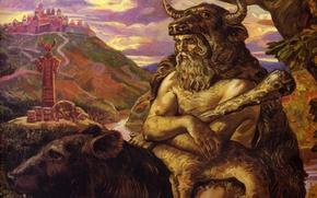 Картинка медведь, бык, язычество, Велес, Клименко Андрей