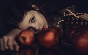 Картинка яблоки, девочка, веснушки, Misia