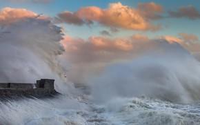 Картинка брызги, шторм, маяк, Уэльс, Порткол