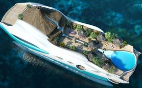 Обои проект, superyacht, Futuristic, яхта-остров, gesign, Yacht-island, tip 2