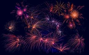 Обои салют, феерверк, Новый год, салюты, ночь, свет, огни