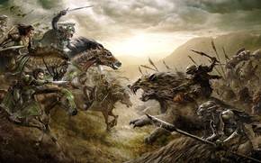 Картинка cinema, dark, battlefield, blood, warhammer, armor, movie, The Lord of the Rings, battle, horse, elf, …