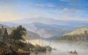 Картинка пейзаж, дерево, масло, картина, Герман Сафтлевен, Вид на Рейн в Андернахе