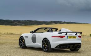 Картинка поле, белый, небо, тучи, холмы, растительность, Jaguar, V8, 575 л.с., 5.0 л., F-Type Project 7