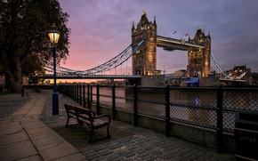 Картинка река, Англия, Лондон, фонарь, Темза, Тауэрский мост, набережная, скамья