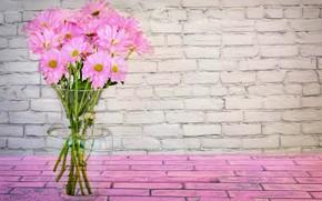 Картинка цветы, розовый, букет, ваза, маргаритки