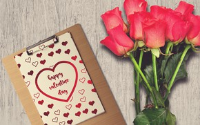 Картинка Букет, Розы, Праздник, Открытка, День всех влюбленных, День влюбленных